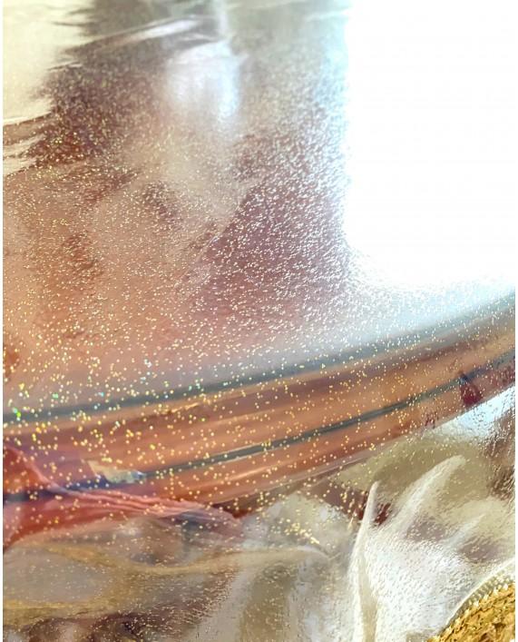 Скатерть силикон-золото с бахромой